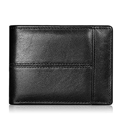 Mens Wallet Slim Genuine Leather RFID Thin Bifold Wallets For Men Minimalist Front Pocket ID Window 12 Card Holders Gift Box (Black Leather)