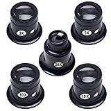 Jewelers Loupe,5PCS Portable Magnifier,Experimental Tools Magnifying Glass Jewelry Tools for Eye Magnifier Lens Repair Kit(3X 5X 10X 15X 20X)
