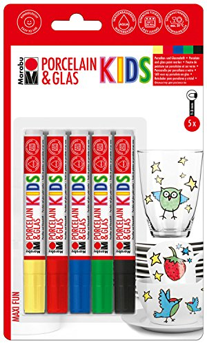 Marabu 0125000000083 - Porcelain & Glas Painter Kids, Set Maxi Fun mit 5 Farben, Porzellan- und Glasmalstift für Kinder, kinderleichtes Malen, spülmaschinenfest nach Einbrennen, Spitze 1 - 3 mm