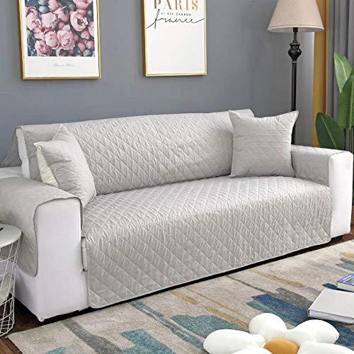 CHLIGHT Funda de sofá Impermeable de Doble Cara,Protector de sofá, de Funda de sofá para Mascotas/Perros, Funda de Muebles Antideslizante para sofá-Gris Claro_3 plazas (190x196cm)