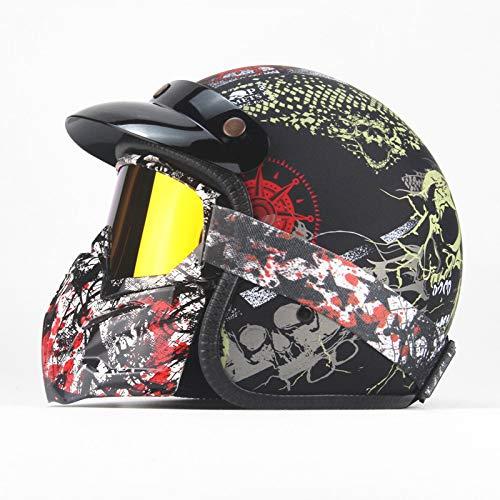 LOLIVEVE Vier seizoenen Retro Helm Persoonlijkheid Retro Harley Helm Motorfiets Elektrische Auto 3/4 Half Helm Schedel Draak Figuur Mannen En Vrouwen