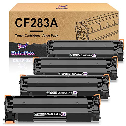 HaloFox Compatible Toner Cartridge Replacement for HP 83A CF283A Work with HP Laserjet Pro MFP M201dw M225dw M125nw M127fw M127fn Printer (Black,4-Pack)