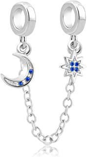 CharmSStory Safety Chain Moon and Star Charm fit Charms Bracelets