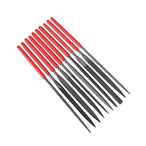 10Pcs Needle File Set Hardened Alloy Strength Steel Files- Mini Needle File Set Includes Round, Tapered Round, Half Round, Barrette, Crossing, Knife, Equaling, Warding, Square, and Three Square