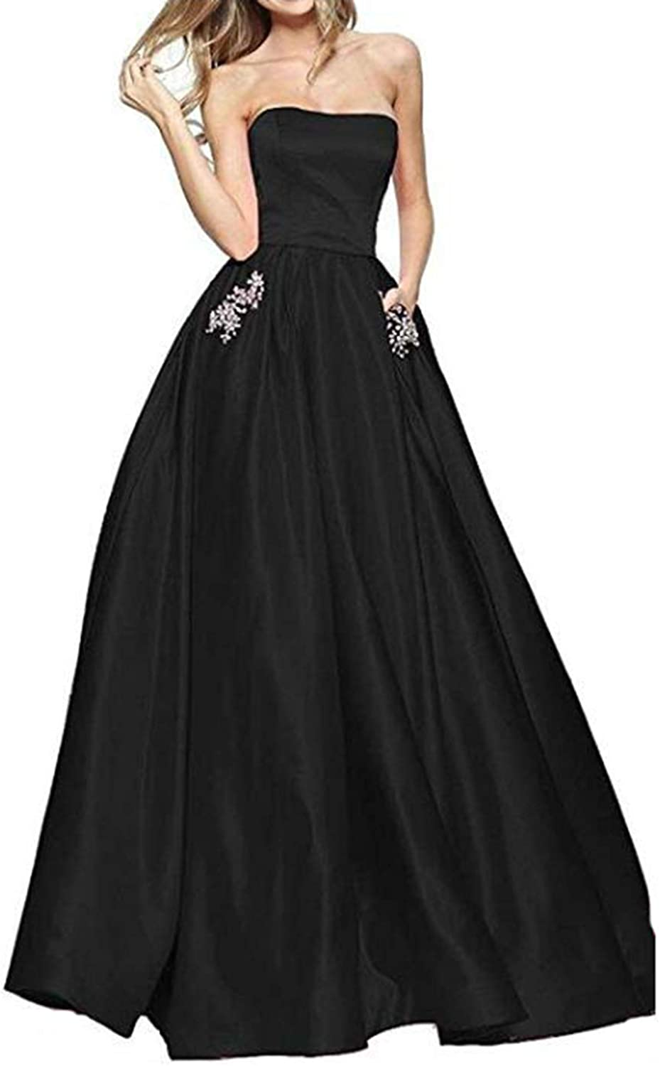 Alilith.Z Sexy Strapless Satin Prom Dresses Rhinestones Beaded Long Formal Evening Dress Party Gowns for Women with Pockets