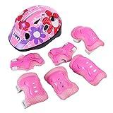 RuiyiF 7PCS Kids Protective Gear Set for Skateboarding Biking Skating, Adjustable Helmet Elbow Wrist and Knee Pads for Kids 5-13