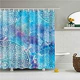 Duschvorhänge, hellblau bedruckter Duschvorhang, Badezimmer-Badewannen-Dekorationsstoff, wasserdichte Trennwand aus Polyesterfaser, 180 x 180 cm