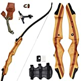 "SinoArt 62"" Recurve Bow Wooden Takedown Archery Bow 20 25 30 35 40lbs"