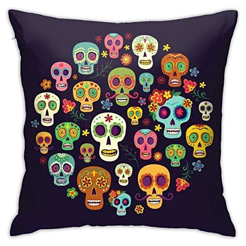 Lsjuee Throw Pillow Cover Composition Group Sugar Skulls on Dark Funda de cojín Decorativa Throw Pillow Fundas Protectores 45x45 cm