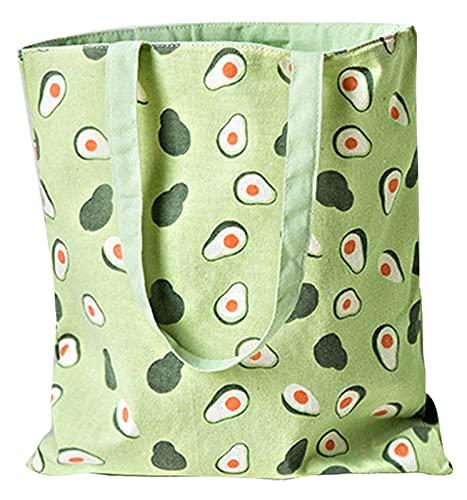 ASFINS Bolsa Tote Tela, Bolsa de Lona Mujer Bolsa Tote Bolsa de Algodón Reutilizable para Las Compras Salir, 40cm x 36cm (Aguacate Verde)