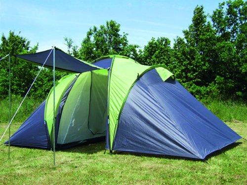 Explorer Sierra 4 Familietent met 2 slaapcabines, 420 (140 x 140 x 140) x 210 x 180 cm, 2 + 2 personen 3000 mm waterkolom, ring-systeem, weerbestendige ingang camping, outdoor, wandelen en familie