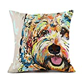 """Redland Art Cute Pet Goldendoodle Frise Dog Pattern Throw Pillow Covers Linen Cushion Cover Cases Pillowcases Sofa Home Decor 18""""x 18""""Inch (45 x 45cm)"""