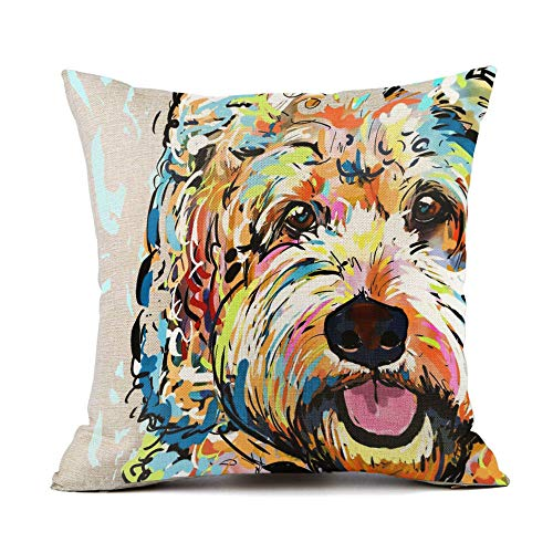 "Redland Art Cute Pet Goldendoodle Frise Dog Pattern Throw Pillow Covers Cotton Linen Cushion Cover Cases Pillowcases Sofa Home Decor 18""x 18""Inch (45 x 45cm)"