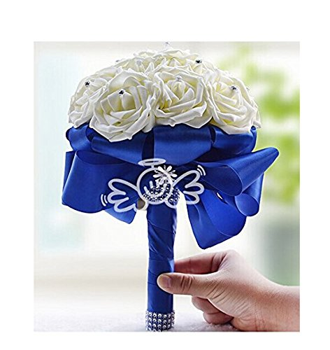 HCYL DIY Blue Ribbon White Rose Bouquet-bridal Wedding Bouquest