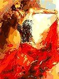 N/O Pintura por números para Adultos DIY Pintura al óleo Kit Niña de la Pintura óleo Digital Niños decoración de la Pared del Arte de la Sala Vista 16X20 Pulgadas(con Marco)