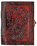 Kooly Zen - Cuaderno de notas con diseño de dragón triskel, bloc de notas, diario, libro, piel auténtica, vintage, cierre de metal, 13 x 17 cm, 240 páginas (120 hojas)