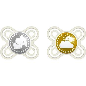 color beige y verde MAM Perfect Start 70584720 Chupete de silicona de 0 a 2 meses, previene los defectos dentales, especialmente fino y flexible