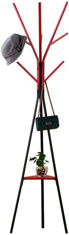 JIAYING Coat Racks Coat Rack, Floor-Standing Hanger Bedroom Living Room Multifunctional Wrought Iron Coat Rack 9 Hook Single-Layer Rack red Black Bearing Gravity 15kg Multifunction