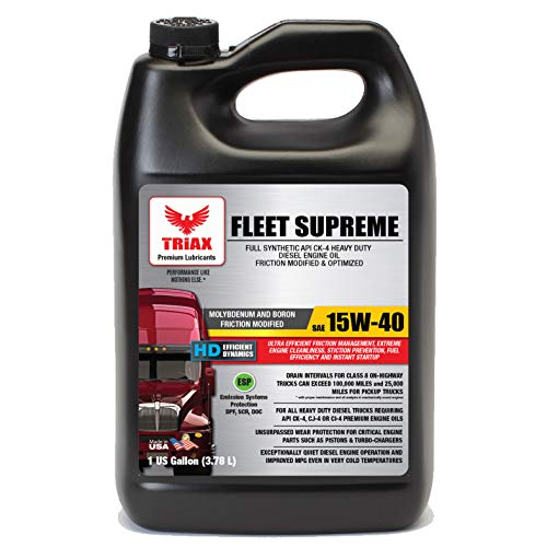 engine oils Triax Fleet Supreme ESP 15W-40 API CK-4 Full Synthetic Diesel Engine Oil, Friction Optimized and Boosted with Molybdenum and Nano-Boron, Superb Powerstroke Performance (1 Gallon)