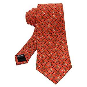 [ジェミギンズ]JEMYGINSシルク ダイダイ色/棒ハイスティック メンズ ネクタイ 花柄 セット ネクタイ チーフ 2