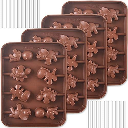 Moldes de silicona para piruletas, 4 paquetes de 8 cavidades antiadherentes, moldes de silicona de Dinosaur para piruletas, caramelos de chocolate