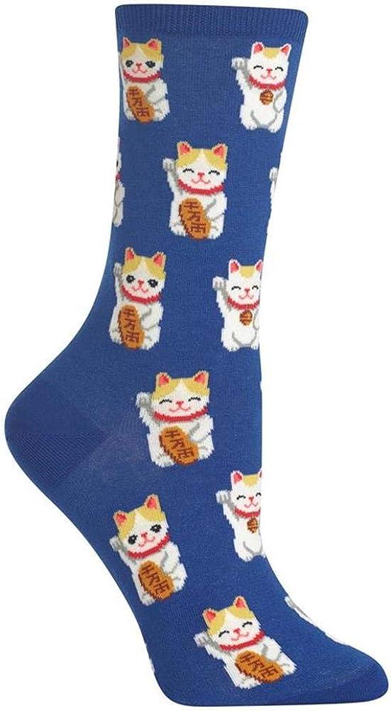 HotSox Womens Lucky Cat Socks, 1 Pair, Womens Shoe 4-10
