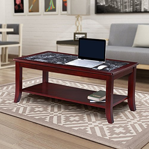 Olee Sleep 18' Dark Emperador Natural Marble (From Italy) Top Solid Wood Edge Coffee Table / End Table/ Side Table / Office Table/ Computer Table/ Vanity Table/ Dressing Table, (Black/ Cherry Brown)