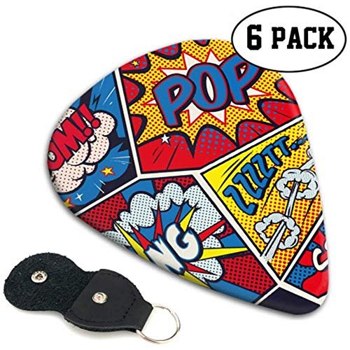 Retro Pop Art Comic Shout Seamless Gitar Picks for Men Gitar Picks for Boys 6 Pack Heavy, elektrische akoestische gitaarsT