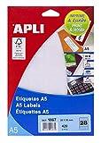 APLI 1867 - Etiquetas A5 blancas 20,0 x 50,0 mm 15 hojas