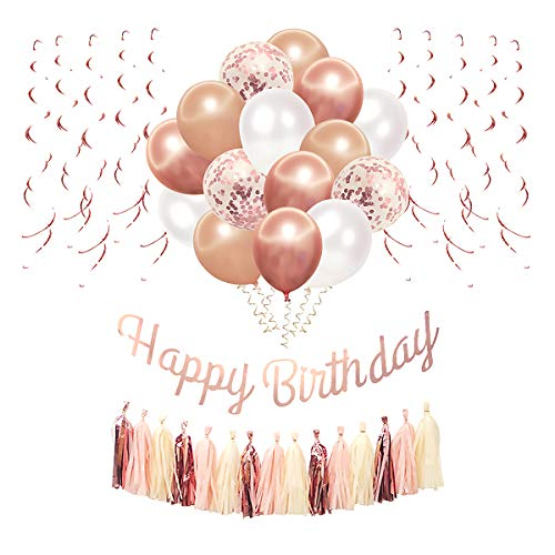 Rose Gold Party Decorations for Birthday Decorations for Women Girls, Blush Balloons,Tassel Garland, Swirl Bar, Happy Birthday Banner for Party Supplies for 13th 15th 16th 18th 20th 30th 40th 50th