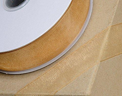 Club Green, Nastro in Organza, con Bordi Intrecciati, Colore: Oro, Misura: 6mm x 25
