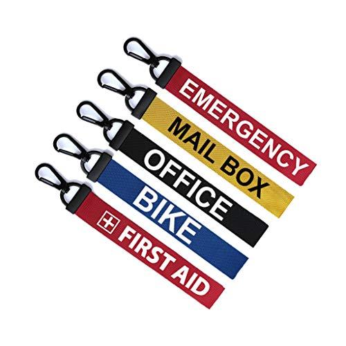 Set van 5 x Key Ring Bagage Tag Rits Trek Sleutelhanger Tas Sleutelhanger Nood Eerste hulp Bike Office Mail Box