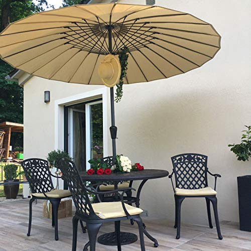 Lazy Susan Alice 6 Seater Round Sand-cast Aluminium Garden Furniture Set, Maintenance-free, Weatherproof, Antique Bronze Finish, Matching Rose Chairs, Rose Bench | Terracotta Cushions