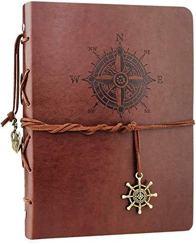 Cuaderno de Cuero A5-WENTS Retro Libreta de Viaje, Cuaderno Vintage Agenda, Recargable...