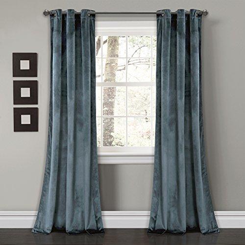 "Lush Decor Prima Velvet Curtains Color Block Room Darkening Window Panel Set for Living, Dining, Bedroom (Pair), 108"" L, Slate Blue"