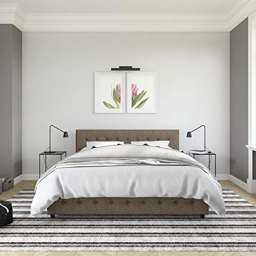 DHP Cambridge Bed with Storage, King Size Frame, Upholstered, Gray Linen