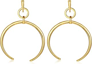 Gold Plated Stainless Steel Crescent moon Cuff Half Hoop Drop Dangle Earrings for Women Girl