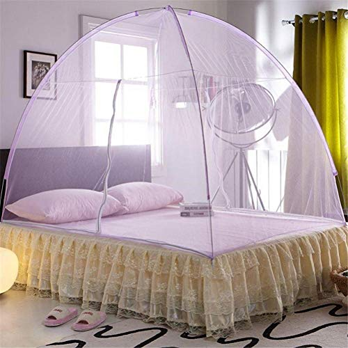 Cxefq Mosquito Net, Mosquitonetz Mobiler Insektenschutz mit, für Bett-kampierendes Reise-Haus im Freien-Purple_150cm