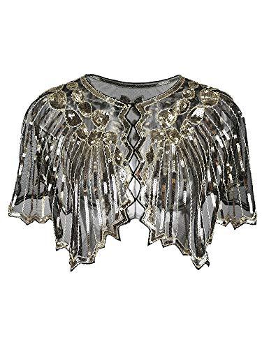 Grouptap 1920er Jahre Gatsby Schal Bolero Pailletten Cape Achselzucken Wrap für goldene Frauen Damen Flapper Art Deco Vintage Kleid Kostüm...