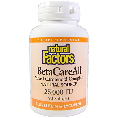 Natural Factors, BetaCareAll 25,000 IU, Antioxidant Support for Healthy Skin, Vision and Immune Function, 90 softgels (90 servings)