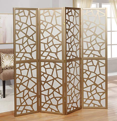 Roundhill Furniture Giyano 4 Panel Wood Frame Screen Room Divider, Gold