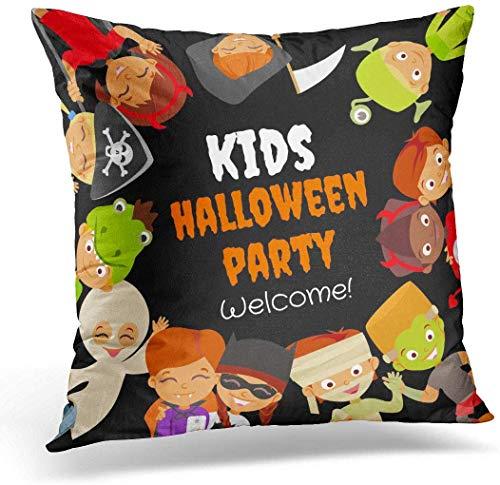 Gooi kussenslopen Case Grappige Halloween Party met gelukkige kinderen in kostuums vieren piraat duivel heks mama draak vampier kussensloop kussensloop voor bank slaapkamer auto 16 x 16 inch