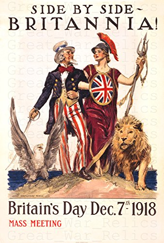 UpCrafts Studio Design WW1AmericanPropaganda Poster, Size 11.7x16.5 inches - Britannia 1918 Year - WW1 Britain's Day Print Reproduction - Great War British Replica Prints