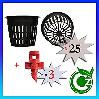 25 Pack - 3 inch Round Heavy Duty Net Cups Pots Wide Lip Design - Orchids • Aquaponics • Aquaculture • Hydroponics • Wide Mouth Mason Jars • Slotted Mesh by Cz Garden Supply