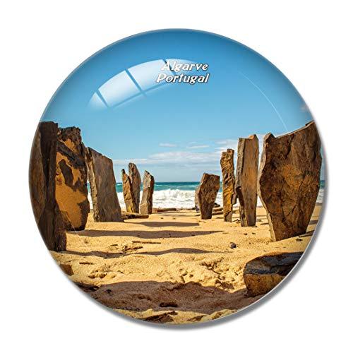 Imán para nevera 3D con piedra de playa de Portugal, Algarve, para pizarra blanca, cristal de recuerdo