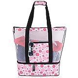 Bolsa de malla para playa con compartimento de aislamiento impermeable con bolsillo lateral con cierre de cremallera para bolsa de playa al aire libre y bolsa de piscina, impermeable