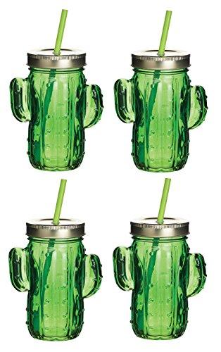 Kitchencraft Barcraft–Tropical Chic diseño de cristal tarros para beber con pajitas, 400Ml-cactus...