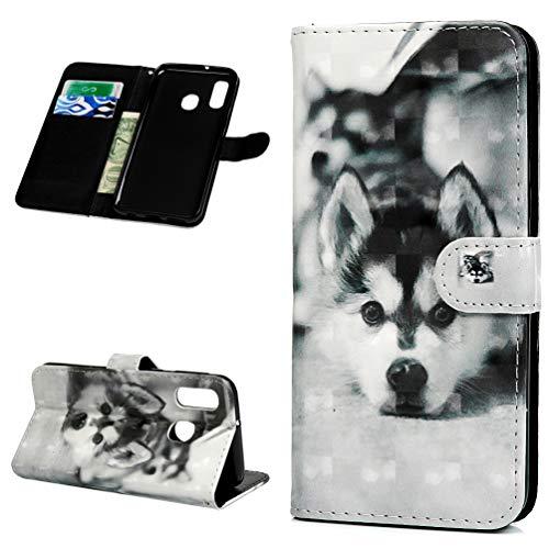 Vogu'SaNa Samsung Galaxy A40 Hülle, H& HandyHülle Kompatible für Galaxy A40 Leder Flipcase SchutzHülle Tasche Cover Etui Brieftasche Flipcover mit Ständer & Magnetverschluss