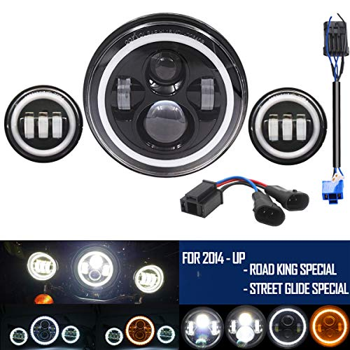 """7"""" Round Harley headlamp, LED Headlight with DRL for Harley Davidson Motorcycles With 2Pcs 4.5 Inch 30W CREE LED Fog Light -  BeltandRoad, A10HF704YBUS"""