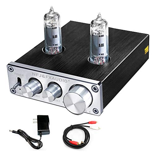 FX-AUDIO TUBE-03 Tube Preamplifier 6K4 Tube Hi-Fi Tube Preamp with Bass & Treble Control Home Theater Stereo Audio Preamplifier DC 12V (Silver)